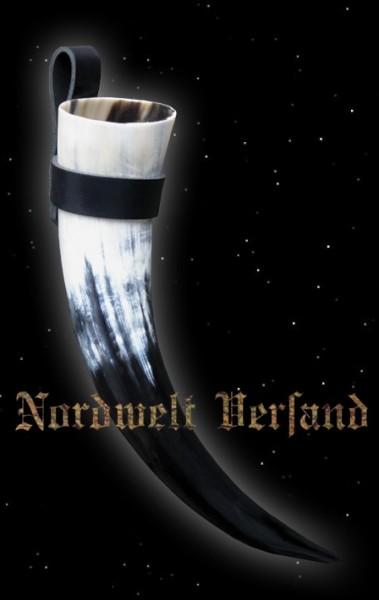 """Hornhalter aus Vollrindleder """"Schwarz"""""""