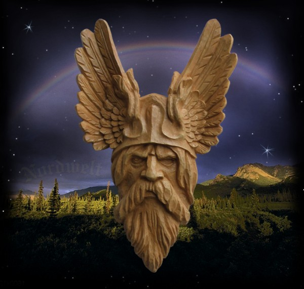 Kopf Wandbild Wodan Wotan Odin Wandrelief der Göttervater