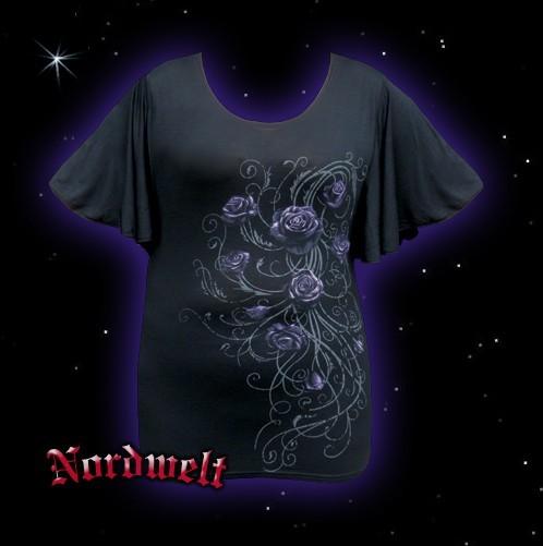 Gothik Bluse T-Shirt Girli, schwarz Rose gothic