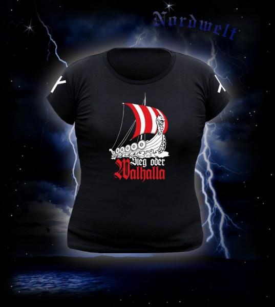 """T-Shirt für Frauen mit Aufdruck """"Sieg oder Walhalla"""" und Wikingerschiff schwarz mit Runen"""