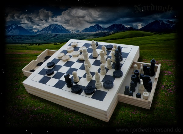 Checkers, mill, chess game Board game made of natural wood