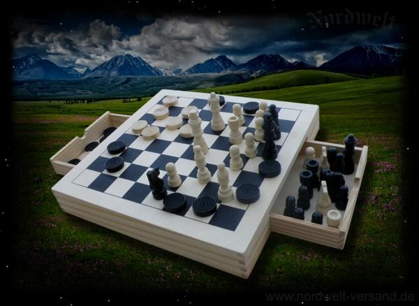 Dame, Mühle, Schachspiel aus Naturholz
