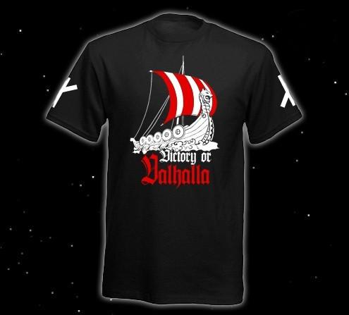 Runen T-Shirt Victory or Valhalla Pagan Asatru T-Hemd Wikingerschiff heidnische Welt