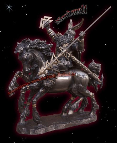 Odin auf Sleipnir Bronzefigur Statue Wotan Wodan auf achtbeinigen Pferd Figur Bronze Göttervater