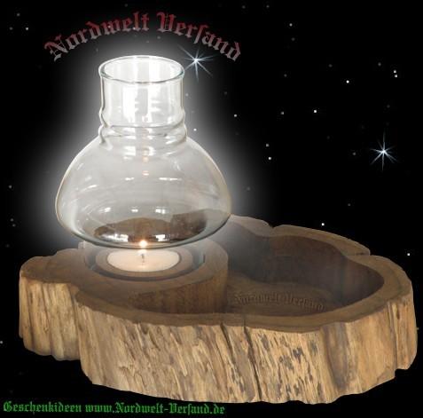 Holzschale mit Windlicht Teelicht