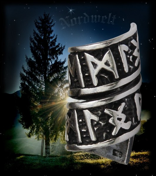 Barthülse Bartschmuck mit Runen, 925er Silber