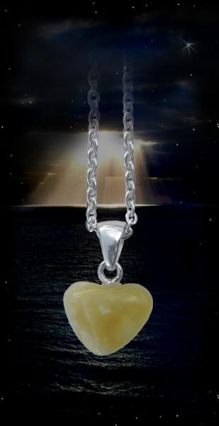 Bernsteinherz aus echtem Bernstein Herz Naturberstein mit 925er Silberkette