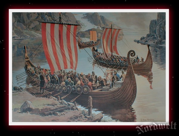 Osebergschiff Wikingerschiff Drachenschiff Poster Kunstdruck Wikinger Langschiff