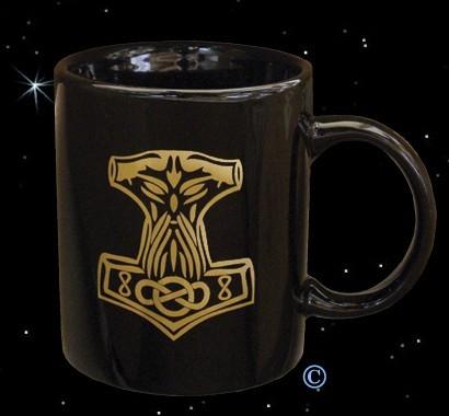 Thors-Hammer Kaffeebecher Kaffeepott schwarze Tasse mit Thorhammer Mjölnir Becher Pott