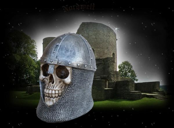Ritterschädel mit Kettenhaube Totenschädel Totenkopf Skull Polyresin Totenkopf