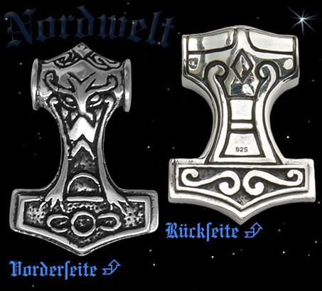 Thorhammer mit Thors Kopf, 925er Silber