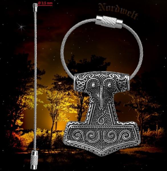 Thorhammer Schlüsselanhänger aus Edelstahl Thors- Hammer Mjönir Schlüsselring