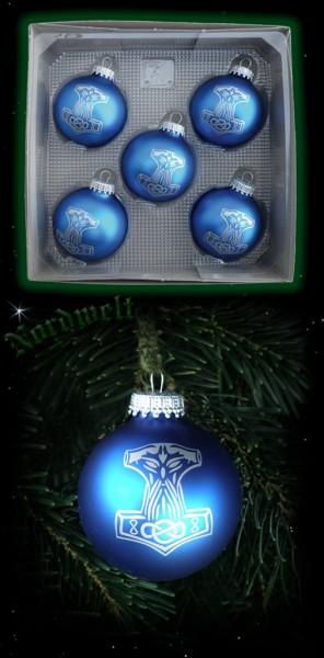 Set Weihnachtsbaum-Kugeln, 5 Stück (mit Thorhammer-Aufdruck)