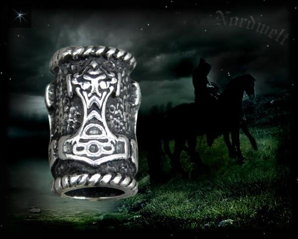 Throahammer Barthüsel Bartschmuck Haarhülse 925er Sterlng Silber