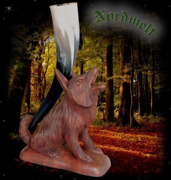 Wotans Odins Hornhalter Wolf aus Holz geschnitzt Trinkhornhalter Wölfe