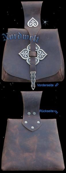 Birka Wikinger Tasche mit Beschläge Mittelalter Gürteltasche Wikingertasche