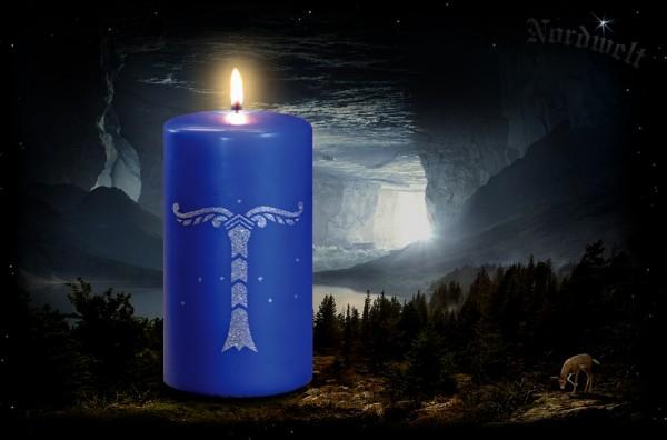 Irminsul Kerze königsblaue Dochtkerze Stumpen Yggdrasil