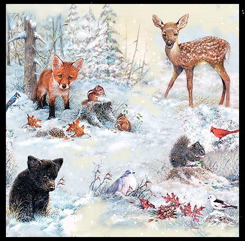 Julfest Julzeit Servietten Brauchtum Naturmotiv Weihnachten der Tiere Winterwald