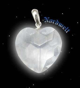 Bergkristall Herzanhänger mit Facettenschliff + Kette