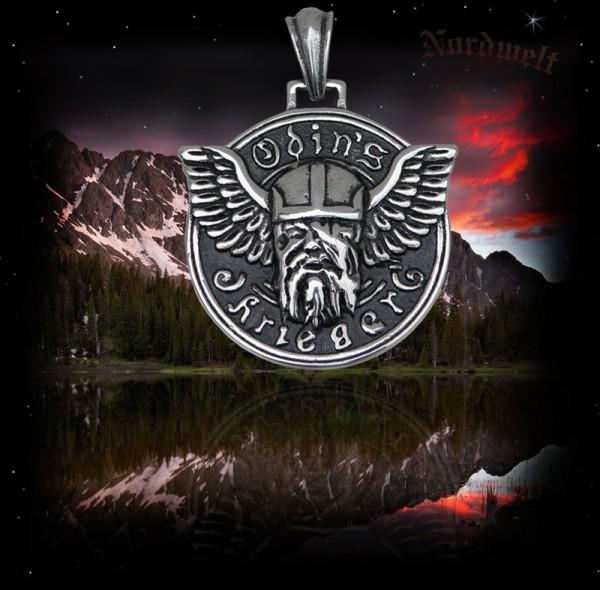 Odin Edelstahl Schmuckanhänger mit Odin / Wodan Kopf