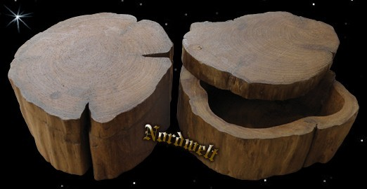 mittelalterliche Holzschale aus Stammholz Holzschatulle mit Deckel Mittelalter-Reenactment