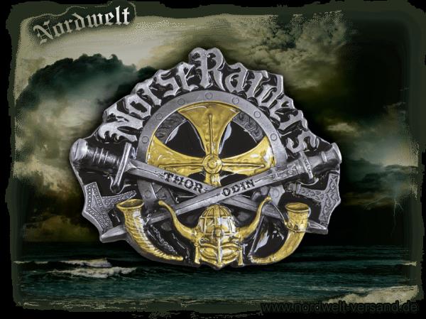 """Norse Raiders Buckle Gürtelschnalle """"Nordischer Angriff"""" Aufschrift Odin Thor Thorhammer Schwerter und Methörner"""