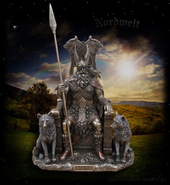 Odin / Wodan auf Thron sitzend, bronziert