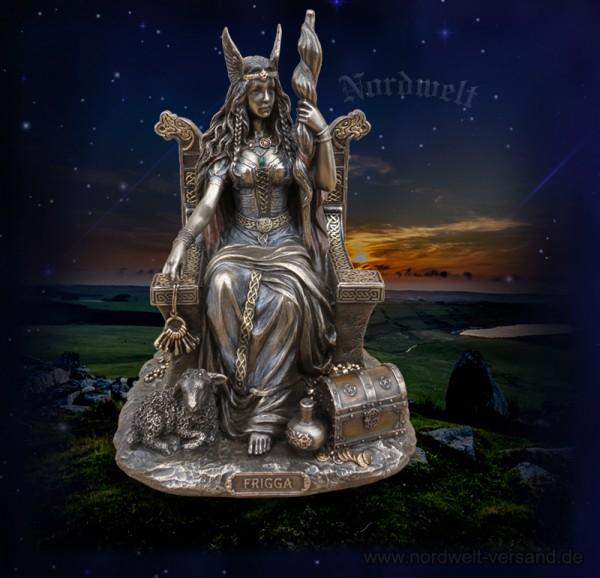 Frigga / Götter-Mutter, Skulptur - auf Thron sitzend, bronziert