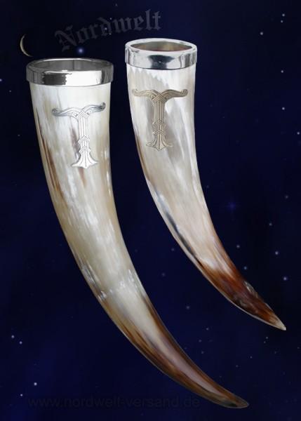 Trinkhorn mit Irminsul aus Zinn Methorn aus echtem Horn hergestellt