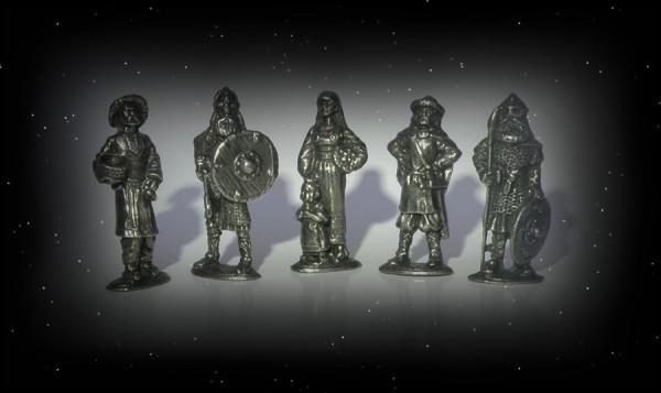 5 Wikinger Zinnfiguren