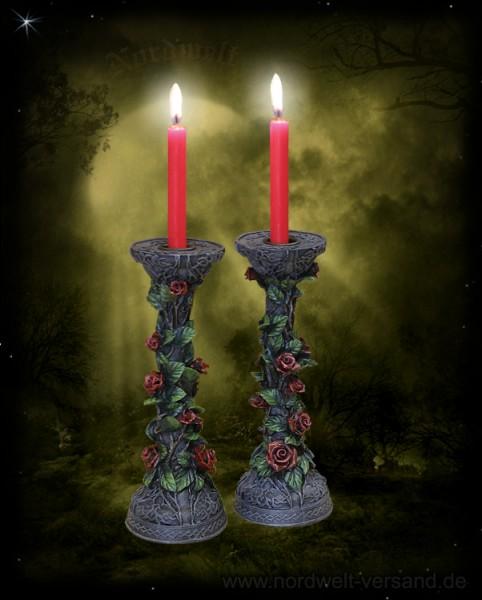 Kerzenständer mit roten Rosen 1 Paar