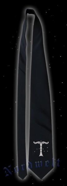 Krawatte, schwarz mit silberfarbener Irminsul