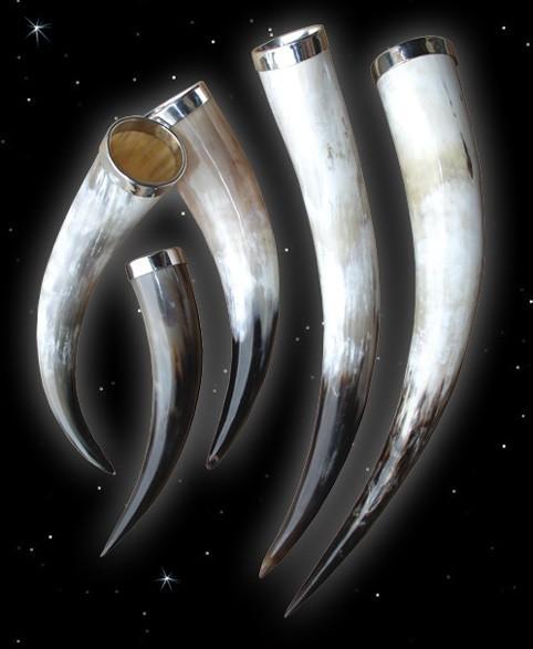 Prunk - Methorn, Trinkhorn mit Zinnrand, verschiedene Grössen