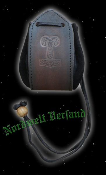 Lederbeutel mit Thorshammer - braun