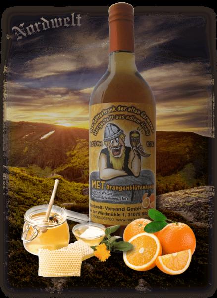 Honigwein Met Göttertrank der Germanen Orange Oragenblüten Honig