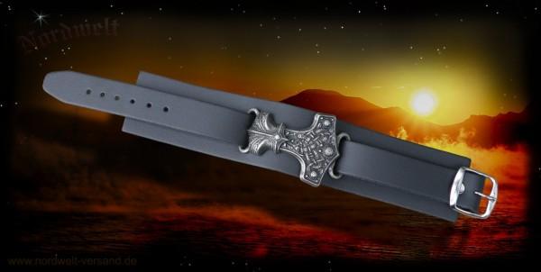Lederarmband schwarz, mit Thorhammer (Zinn)