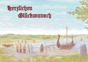 "Postkarte ""Ankunft des Wikingerschiffes"""
