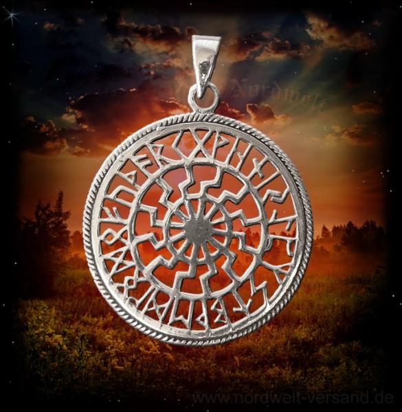 Anhänger Sonnenrad mit 24er Runen Futhark, 925er Silber