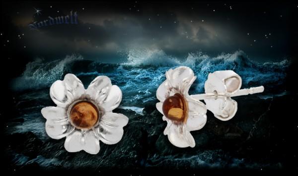 Ohrstecker Bernstein Blume Blüten, 925er Silber