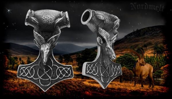 Thorhammer Ziegenbock- Kopf Thors Hammer großer Mjölnir Edelstahl