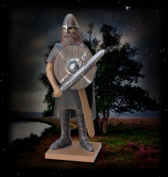 Wikinger mit Schwert und Schild Figur Statue Skulptur aus Polyresin Krieger Nordmann