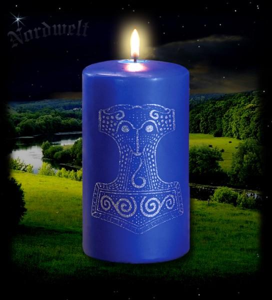 Thors Hammer königsblaue Kerze mit Skane Thorhammer