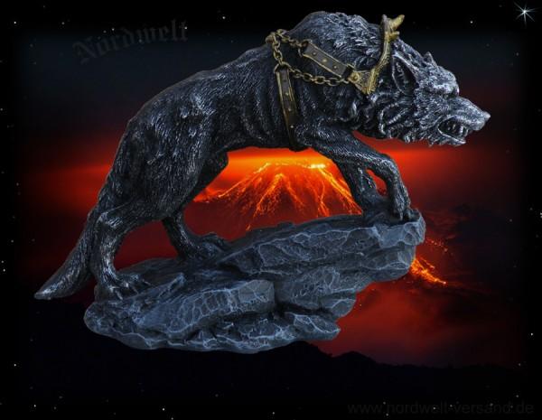 Fenriswolf in Ketten Figur Statue Kunststein Fenriswolf von Kriegsgott Tyr gefesselt
