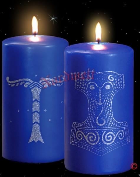 Kerze mit Skane Thorhammer + Kerze mit Irminsul