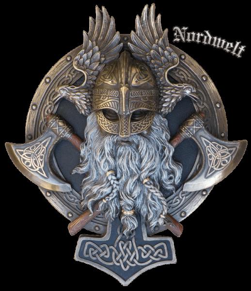 Odin Relief Bild bronzierter Kopf Wodan Göttervater Wotan Wikinger