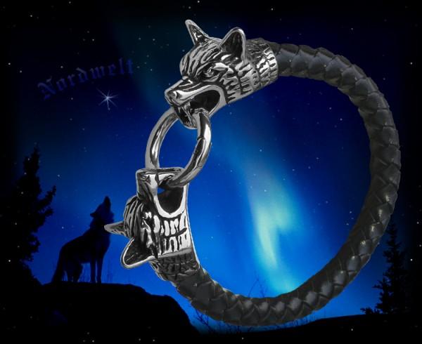 Armband Odins Wölfe Fenris Leder Edelstahl Wolfsköpfe Schmuck Geri und Freki
