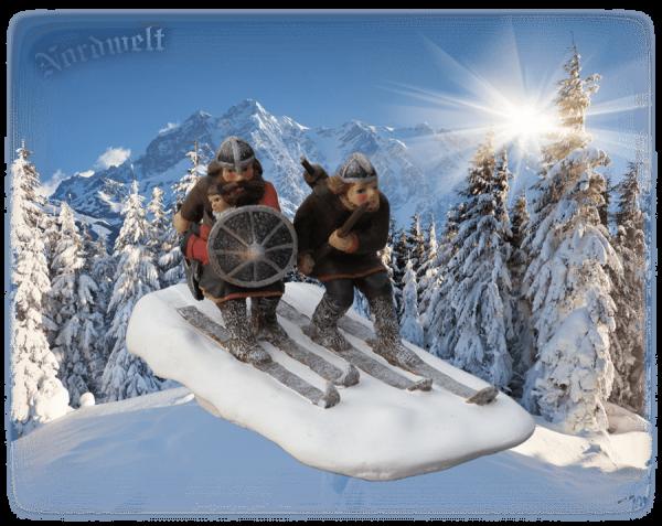 Wikinger auf Skier Ski fahren Figur Statue aus Polyresin Nordmänner im Winter