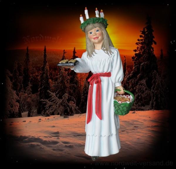 Lichtgöttin Lucia mit Gebäckblech, Kunststein (große Ausführung) Statue