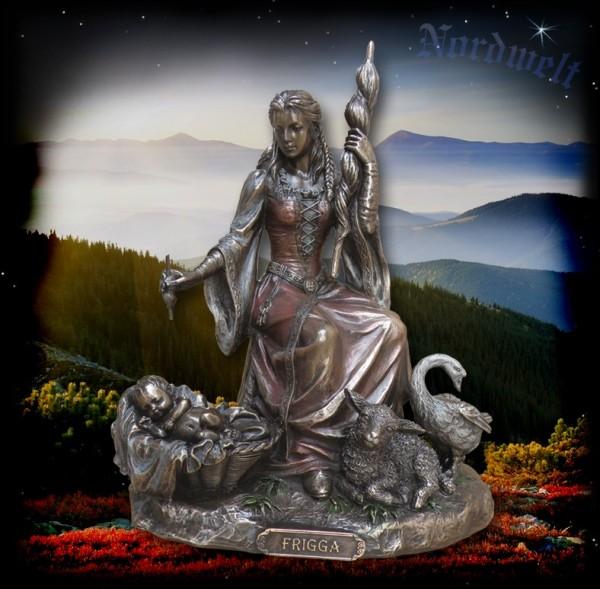 Skulptur Frigga, Göttermutter, bronzefarbend Statue
