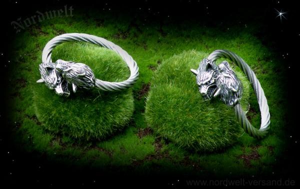 Armreifen mit Wolfsköpfen Geri und Freki Odins Wölfe aus Edelstahl Schmuck Armschmuck